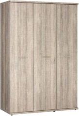 Bruine BEUK - Kledingkast slaapkamer - 3 Deurs – Donker Grijs Hout - Bavel