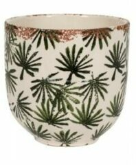 NDT International Bowl Grenada Dark groen S 16x15 cm donkergroene palm ronde bloempot voor binnen