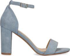 Manfield - Dames - Lichtblauwe suède sandalen met hak - Maat 41