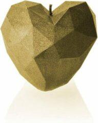 Candellana Figuurkaars Hart Modern - klassiek goud gelakte figuurkaars - Hoogte 7 cm (18 uur) - Hart kaars