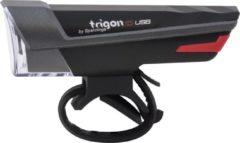 Zwarte Spanninga Trigon Fiets koplamp - 15 lux - USB-Oplaadbaar