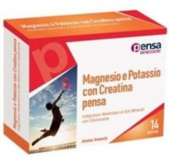 Magnesio e Potassio con Creatina 14 bustine Integratore Alimentare di Sali Minerali con Edulcorante PENSA PHARMA