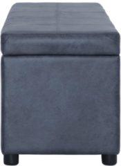 VidaXL Bankje met opbergvak 116 cm kunstsuède grijs