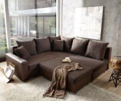DELIFE Couch Lavello 210x210 Dunkelbraun Ottomane Rechts Hocker, Ecksofas