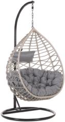 Beliani Hangstoel met standaard rotan grijs/zwart ARSITA