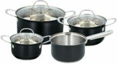Zilveren Alpina Kitchen & Home Alpina pannenset - 4 Pannen, 3 Deksels - 7-delig - Alle Warmtebronnen - RVS - Mat Zwart
