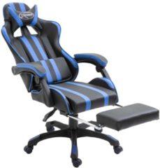 VidaXL Gamingstoel met voetensteun kunstleer blauw