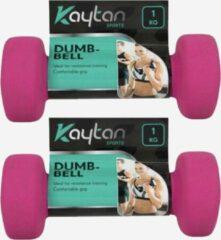Kaytan Zachte Dumbbells Pink | Dumbbell set | 2x 1kg | Dumbells 1 kilogram | Roze | Arm Oefeningen | Thuis Gym