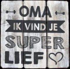 Witte Hetfamiliehoekje.nl Tekstbord 20cm Oma super lief - Antique White