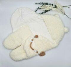 Mon Avenir - Baby Teddy Inbakerslaapzak extra gevoerd - Wit - Dik - 0-3 maanden