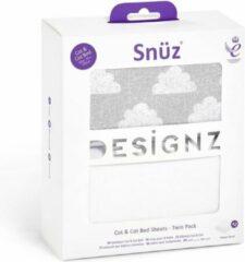 Grijze Snüzkot Snuz Hoeslakens Snuzkot - 2 Pack -70x140cm - Cloud