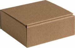 Naturelkleurige Papyrasse Geschenkdoos ribbelkarton 15x14x5,5cm NATUREL (100 stuks)
