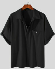 Blauwe INCERUN Plus Size Solid Concealed Placket Shirts