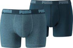Blauwe PUMA Boxershort Heren PUMA BASIC BOXER 2-pack - Denim - Maat XL
