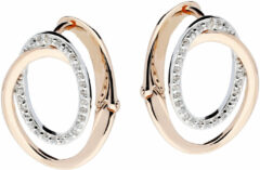 Silver Lining Elegance Zilveren klap-oorringen Met Rosé-plating En Zirkonia Gerodineerd 107.5413.00