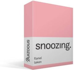 Moment By Moment Snoozing flanel laken Roze 2-persoons (200x260 cm) (350 roze)