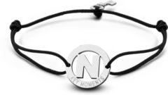Zilveren Key Moments 8KM-A00014 - Armband met stalen letter N en sleutel - one-size - zilverkleurig