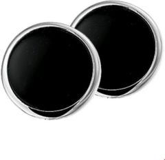 The Jewelry Collection Oorclips Onyx - Zilver