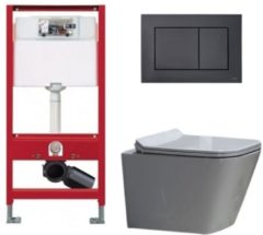 Douche Concurrent Tece Toiletset - Inbouw WC Hangtoilet wandcloset - Alexandria Flatline Rimfree Tece Now Glans Zwart