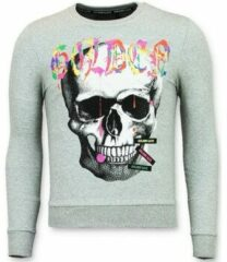 Grijze Sweater Golden Gate Trui Mannen - Doodskop Heren Sweater - Golden Skull