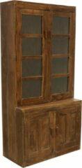 Naturelkleurige Raw Materials Teakhouten kast - Servieskast - 106x46x182 cm