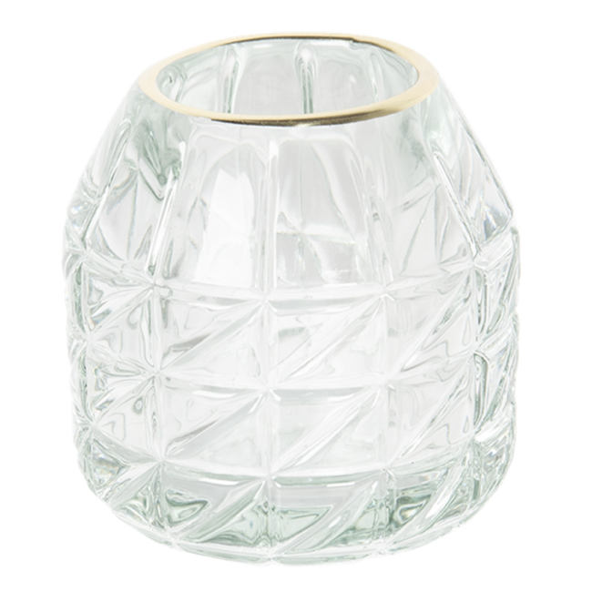 Afbeelding van Gouden Clayre & Eef Glazen Theelichthouder 6GL2447 Ø 9*9 cm Transparant Glas Rond Waxinelichthouder Windlichthouder