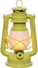 Lumineo Gele Led Licht Stormlantaarn 24 Cm Met Vlam Effect - Campinglamp/campinglicht - Vuur Led Lamp