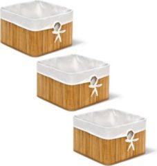 Relaxdays 3er Set Bambus Aufbewahrungskorb natur Aufbewahrungssystem Faltbox Schrankkorb