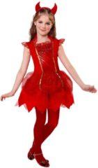 Rode Widmann Duivel Kostuum | Duivel Deirdre | Meisje | Maat 104 | Carnaval kostuum | Verkleedkleding