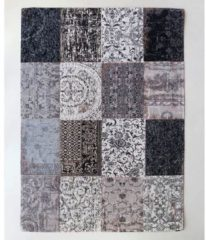 Louis de Poortere - 8101 Vintage Patchwork Black & White Vloerkleed - 280x360 cm - Rechthoekig - Laagpolig, Patchwork Tapijt - Landelijk, Oosters - Meerkleurig
