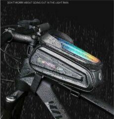 Zwarte Wheel up Premium Reflecterende Stuurtas - Racefiets - Waterbestendig - Touchscreen for Mobile - Stuurframe Fietstas