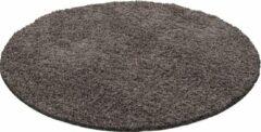 Decor24-AY Hoogpolig vloerkleed Dream - taupe - rond - 120x120 cm