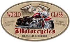 Bennies Fifties World Class Motorcycles Rebuild & Repair Zwaar Metalen Bord - 61 x 36 cm