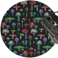 Rode Leukste Winkeltje LeuksteWinkeltje muismat Paddestoel zwart - met textiel toplaag - rond 20 cm