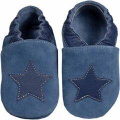 Hobea Babyslofjes blauw suede met ster (Loop)