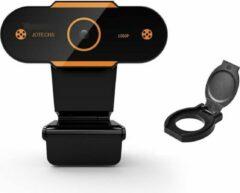 Oranje Jotechs Webcam Deluxe Met Gratis Lenskapje - Webcam voor PC - 1920x1080 Pixels - USB Webcam - Ingebouwde Microfoon - Nieuwe Model 2021