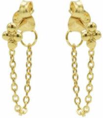 Karma Jewelry Karma Oorbellen Chain 4 Dots Goud