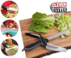 Grijze Clever Cutter Original 2 in 1 Keukenschaar en keukenmes in 1 - Keukenhulp - Vaatwasserbestendig - Keukentool - Universele schaar - Roestvrij