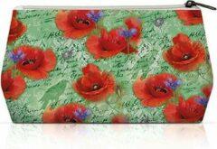 Rode Ambiente, Cosmetic Bag Painted Poppies groen - Toilet tas - Make-up tas - klaproos