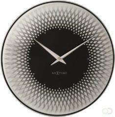 Zilveren NeXtime Sahara - Wandklok - Rond - Spiegel Glas - Stil uurwerk - Ø 43 cm - Zilver