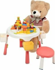 Rode Decopatent® - Speeltafel met bouwplaat (geschikt voor Duplo® blokken) en vlakke kant. Fijne kindertafel met 2 stoelen - Bouwtafel