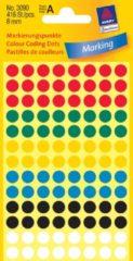 Avery Ronde etiketten diameter 8 mm, geassorteerde kleuren, 416 stuks