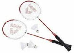 Donnay badminton set - 2 racket (rood/wit/zwart) + 3 shuttles en bewaartas