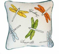 Witte Dedicated creations Sier kussen Libelle