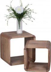 Wohnling WOHNLING 2er Set Satztisch BOHA Massiv-Holz Akazie Wohnzimmer-Tisch Landhaus-Stil Cubes Beistelltisch Würfelregal Natur