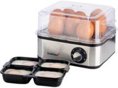 Roestvrijstalen Korona eierkoker, 16 eieren, 400 Watt, RVS, stoomfuctie