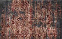 Dimehouse Industrieel Vloerkleed 160x230 Dylan - Grijs Rood - Stof