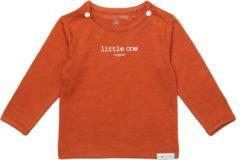 Oranje Noppies Unisex Shirt Hester met tekst - Spicy Ginger - Maat 44