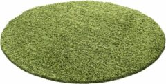 Decor24-AY Hoogpolig vloerkleed Dream - groen - rond - 80x80 cm