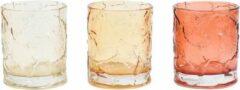 Light & Living Set van 3 Theelichthouders Hojasa - Waxinelichthouders - Glas - Ø 7,5 x 9 cm - Bruintinten